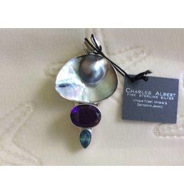 Mabe Blister Pearl, Amethyst & Blue Topaz Pendant