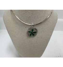 "Malachite Natural Sand Dollar Necklace 18"" Omega Chain"