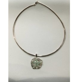 "Amazonite Natural Sand Dollar Necklace 18"" Omega Chain"