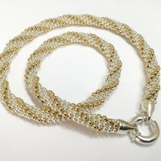 "Gold & Silver Twist 16"" Necklace by Dovera"