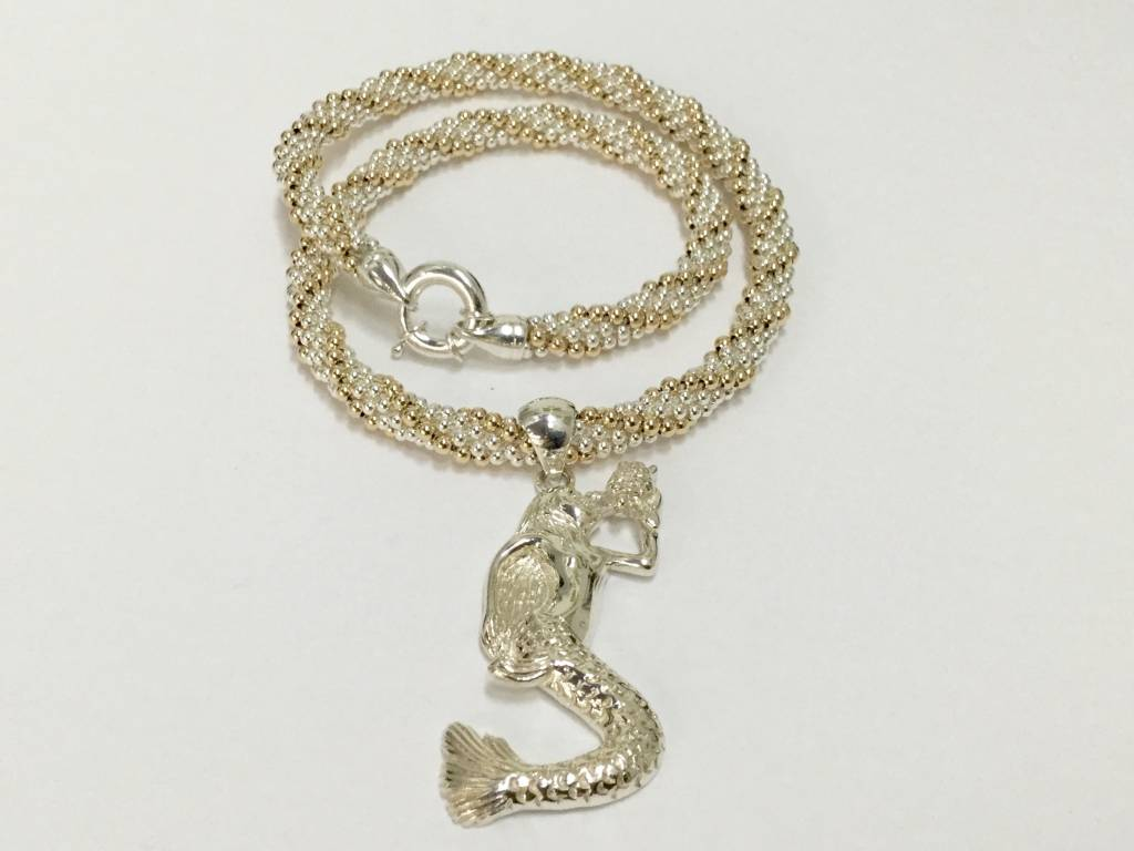 "Gold & Silver Twist 18"" Necklace by Dovera"