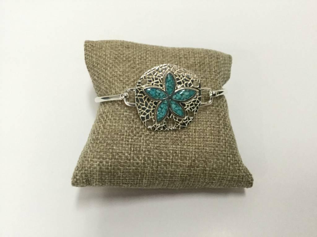 Turquoise Natural Sand Dollar Bracelet SS
