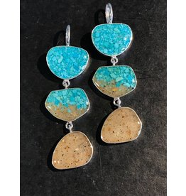 B-Gradient Turquoise & Marco Island Sand Triple Drop  Earrings SS