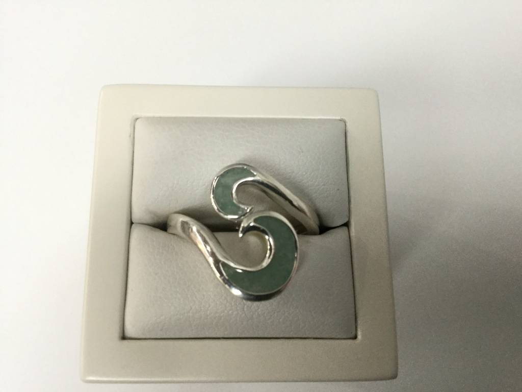 Amazonite Wave Bypass Ring SS