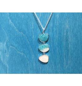 "B-Triple Drop Necklace Adj 16-20"" SS Turquoise Gradient & Marco Island Sand"