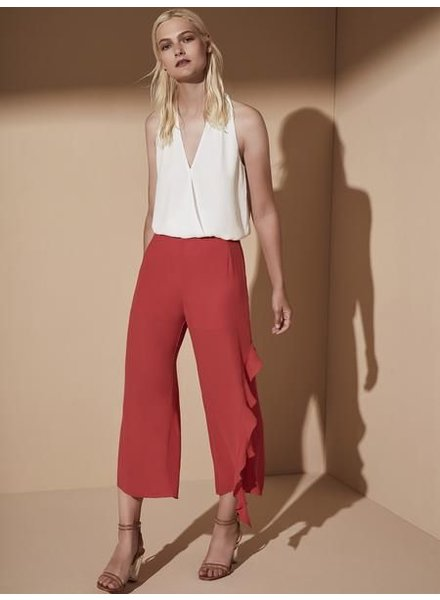 Krisa Crop Side Ruffle Pant
