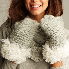 ANEW Peppermint Slub Mitten with Fur