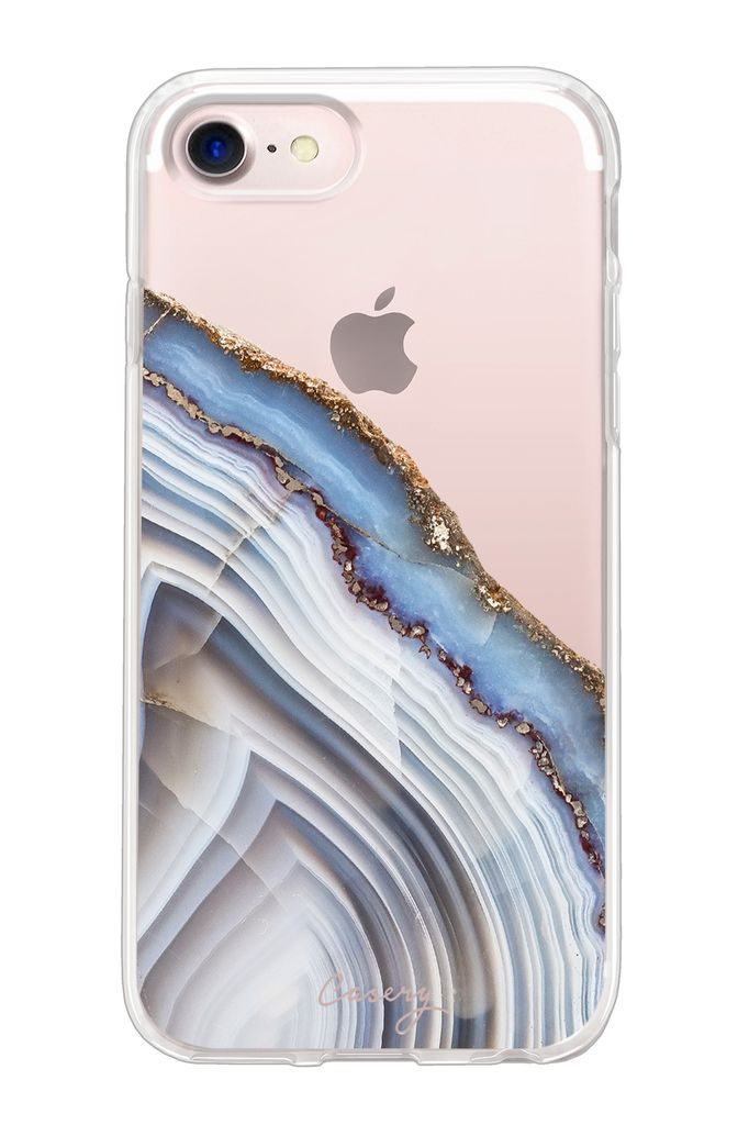 The Casery Light Blue Agate Hybrid iPhone Case