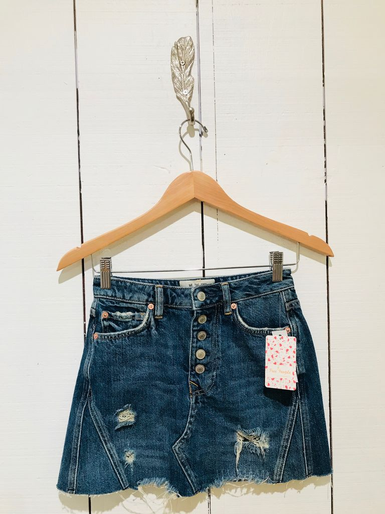 Free People Denim A-Line Mini