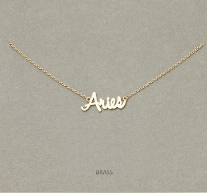 MIsc Script Horocscope Necklace * Aries