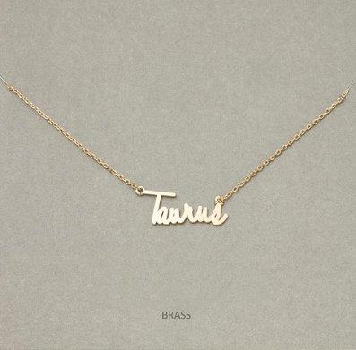 MIsc Script Horoscope Necklace * Taurus