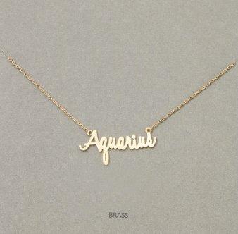 MIsc Script Horoscope Necklace * Aquarius
