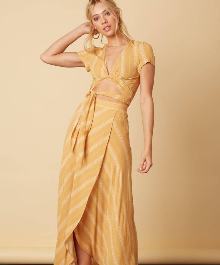 EM & ELLE Surplice Printed Maxi Skirt