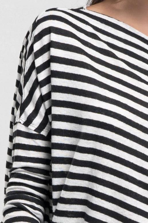 EM & ELLE Side Tie Off The Shoulder Stripe Tee