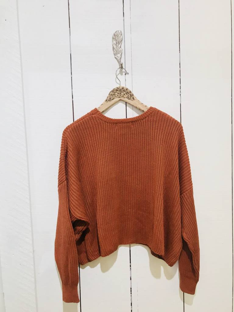 EM & ELLE Drop Shoulder Chunky Crew Neck Sweater