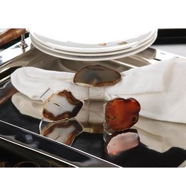 Zodax Agate and Acrylic Napkin Ring, Natural Red