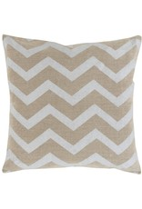Metallic Linen Pillow,  Platinum Chevron