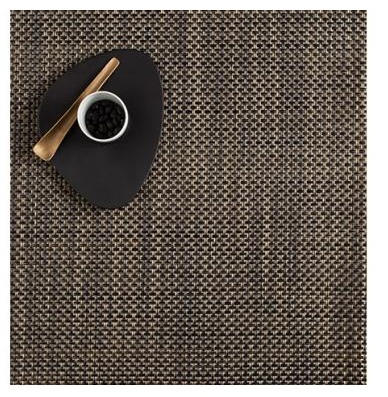 "13""x14"" Basketweave Table Mat, Black/Gold"