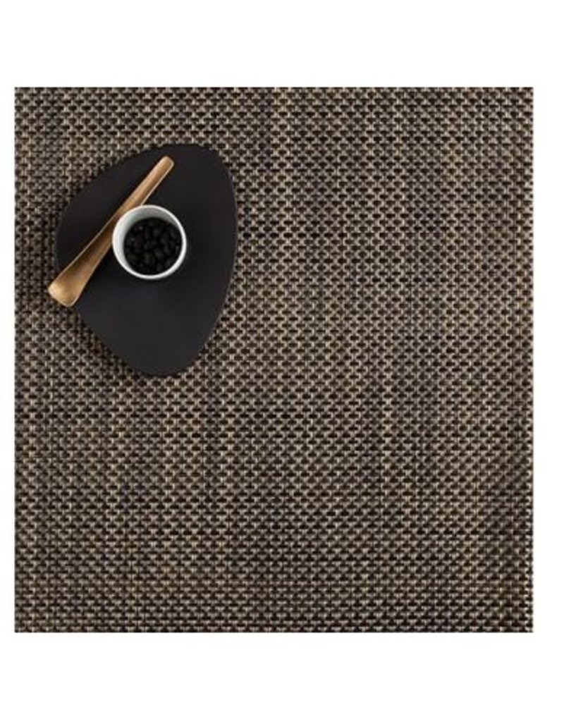 "Chilewich 13""x14"" Basketweave Table Mat, Black/Gold"