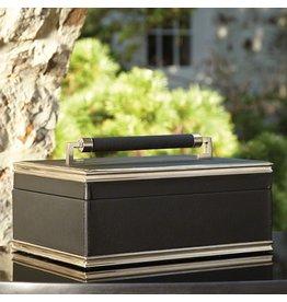 Global Views Wrapped Handle Leather Box-Black/Nickel