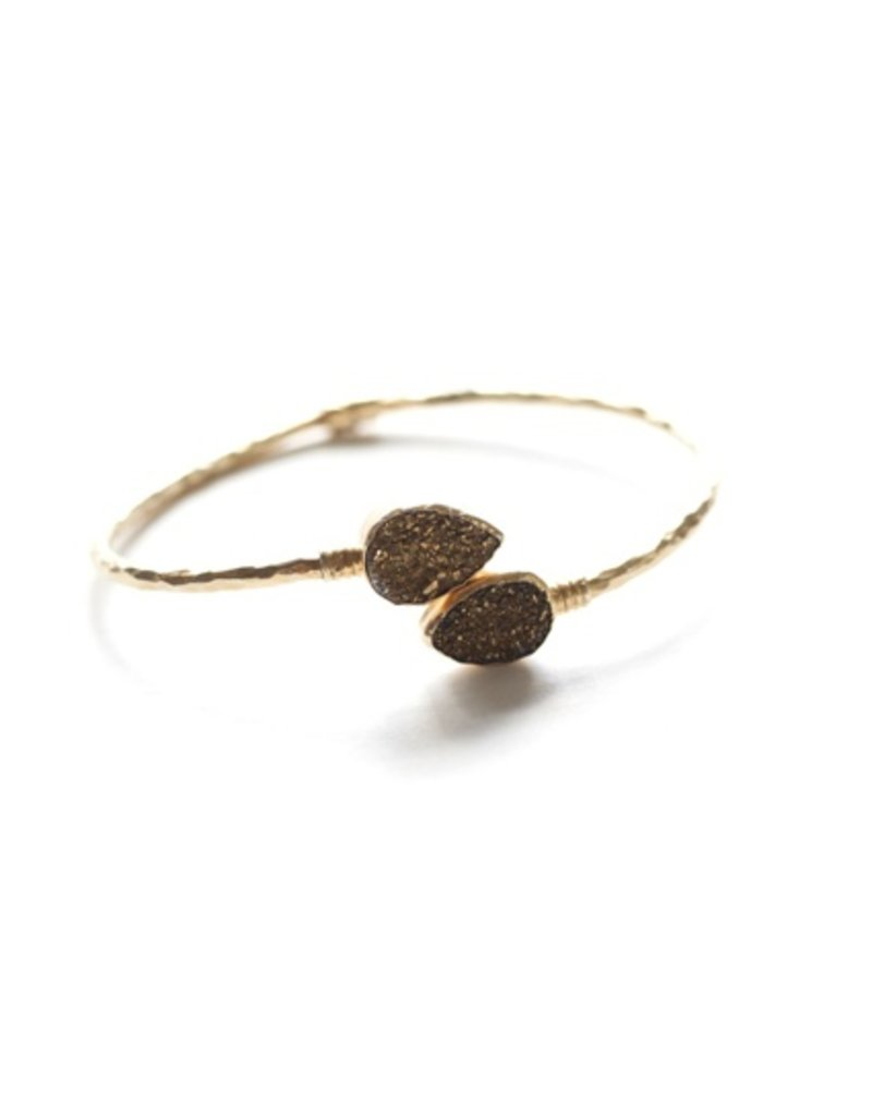 Avindy Gold Druzy Pair of Pears Bangle