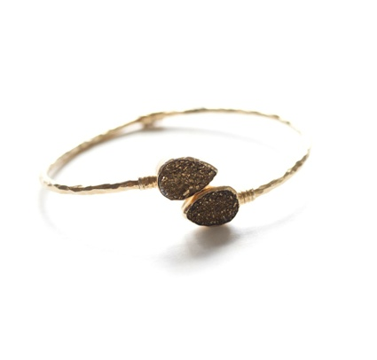 Gold Druzy Pair of Pears Bangle