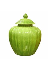 Fluted Pumpkin Jar, Lime Green
