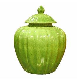 Legend of Asia Fluted Pumpkin Jar, Lime Green