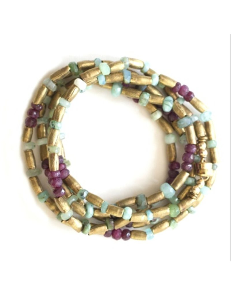 Avindy Brushed Gold Bracelet with Ruby and Opal