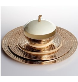 Lunares Small Ribbed Plate, Gold/Oyster