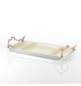 Lunares Lodge Three Part Tray, Oyster