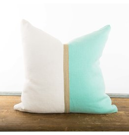 "20"" Belgian Linen Pillow, Aquamarine/White"
