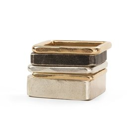 5-Stack Black, Gold & Silver Square Densa Ring, Size 7