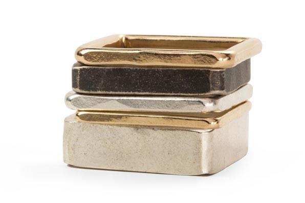 5-Stack Black, Gold & Silver Square Densa Ring, Size 7