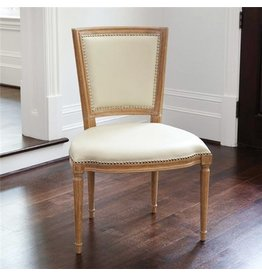Global Views Marilyn Side Chair, Ivory Leather