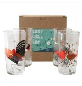 Fishs Eddy Oldham + Harper Red Birds Glasses Set of 4