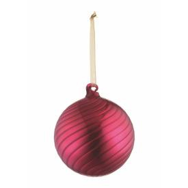 SHINY SWIRL GLASS BALL ORNAMENT 4""