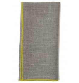 "Duet 19'x19"" Dinner Napkin, Natural Linen, Yellow Stitching"