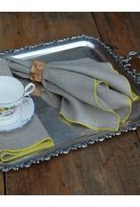 """Duet 19'x19"""" Dinner Napkin, Natural Linen, Yellow Stitching"""