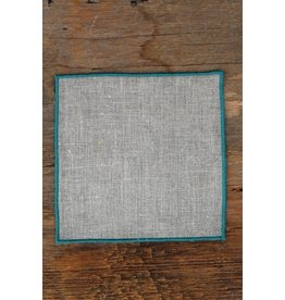 "Linen Way Duet 6""; Cocktail Napkin, Natural Linen, Aqua Stitching"