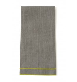 "Linen Way Leonardo 20""x28"" Tea Towel, Natural Linen, Yellow Stitching"