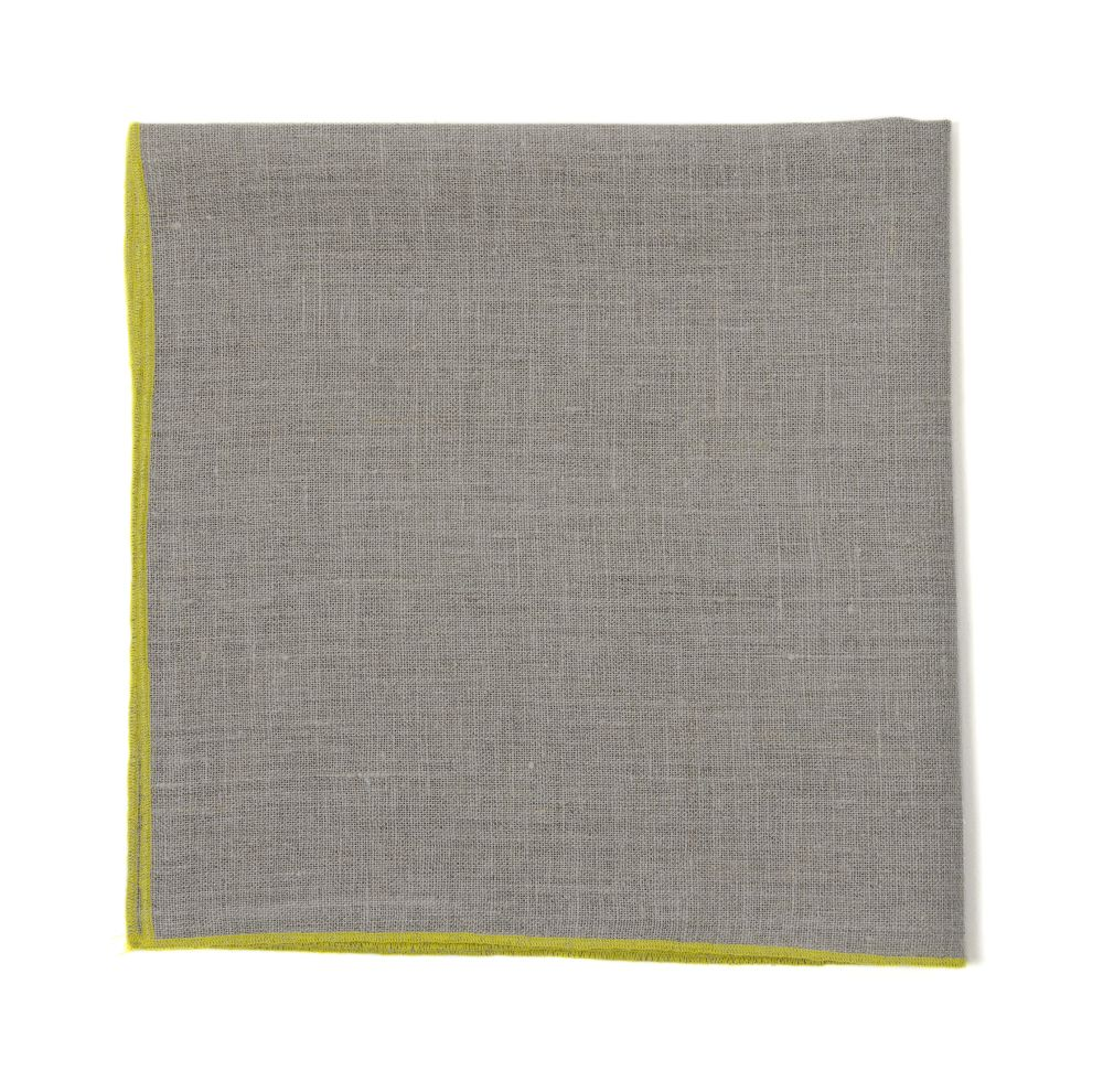 "Duet 6""; Cocktail Napkin, Natural Linen, Yellow Stitching"