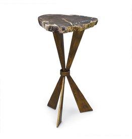 Palecek Petrified Wood Tri-leg Side Table
