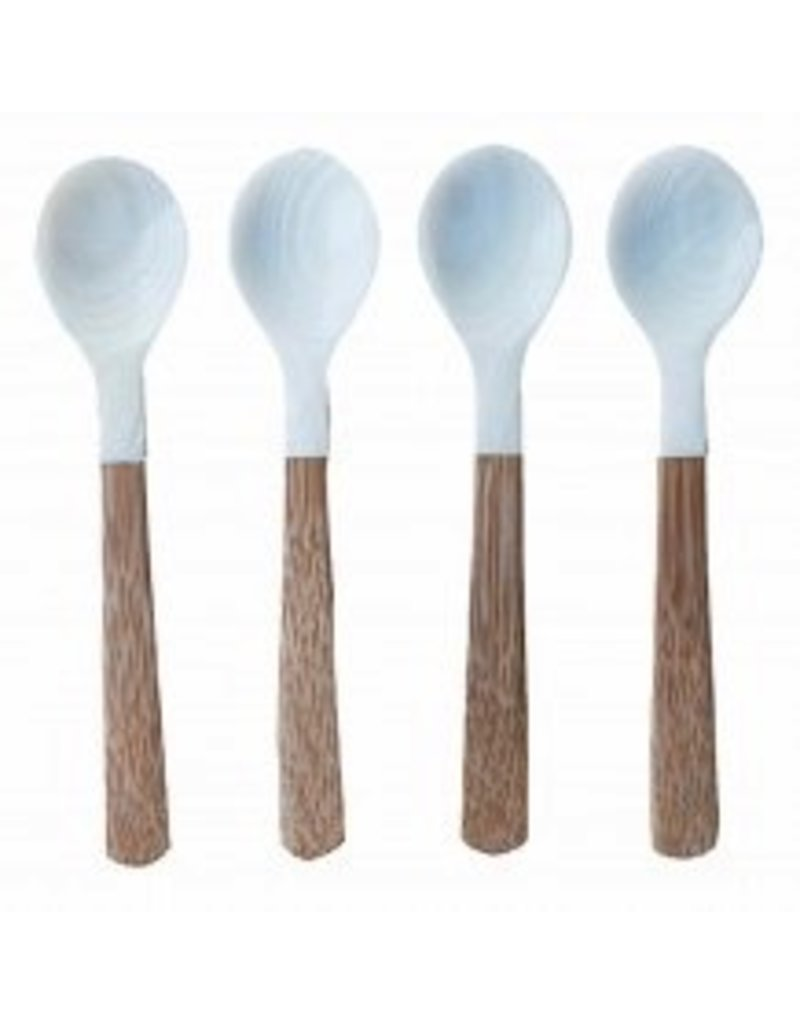 Be Home Seashell Spoons with Bamboo Handle, Set of 4, Medium