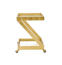 Worlds Away Lenox Bar Cart, Gold Leaf