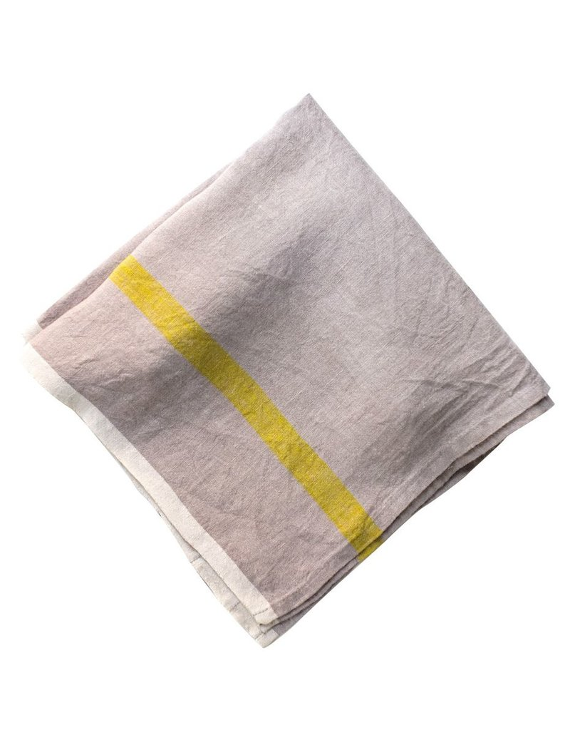 """Couleur Nature Laundered Linen 20""""x20"""" Napkin, Lime and Gray"""