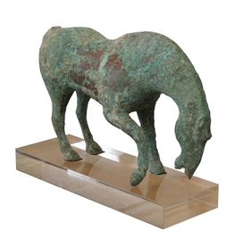 Legend of Asia Bronze Green Horse on Acrylic Base