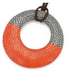 Vivo Genuine Shagreen Circle Pendant on Cord, Grey and Orange