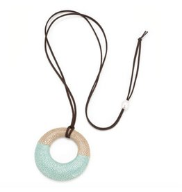Genuine Shagreen Circle Pendant on Cord, Latte and Aquamarine