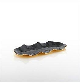 Lunares Small Ruffled Tray, Graphite